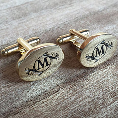 Colour Engraved Oval Gold Cufflinks
