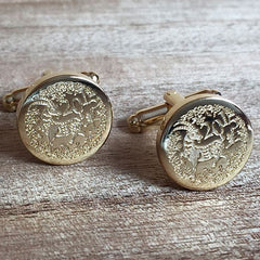 Deep Etched Engraved Round Gold Cufflinks