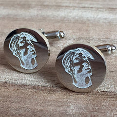 Deep Etched Engraved Round Silver Cufflinks