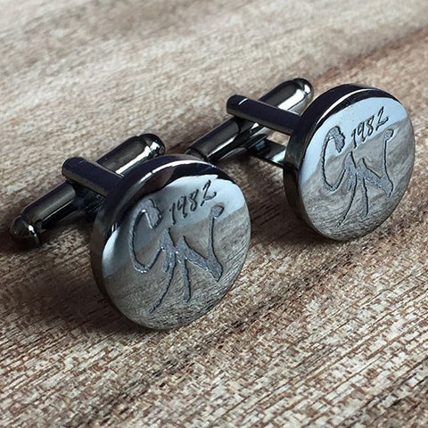 Deep Etched Engraved Round Gunmetal Cufflinks