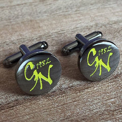 Colour Engraved Round Gunmetal Cufflinks