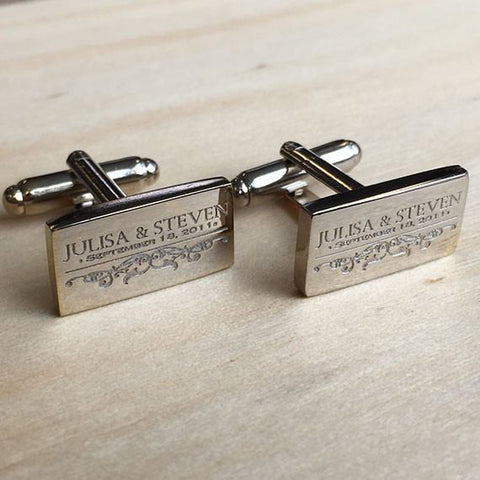 Deep Etched Engraved Rectangle Silver Cufflinks