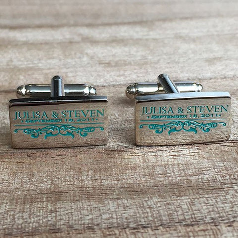 Colour Engraved Rectangle Silver Cufflinks