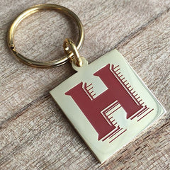 Colour Engraved Square Gold Key Ring