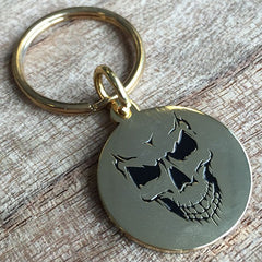 Colour Engraved Round Gold Key Ring