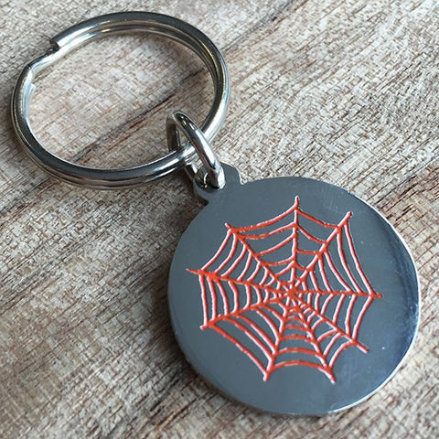 Colour Engraved Round Silver Key Ring