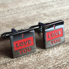 Colour Engraved Square Gunmetal Cufflinks