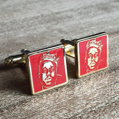 Colour Engraved Square Gold Cufflinks