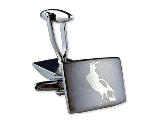 AFL Collingwood Magpies Brushed Steel Cufflinks