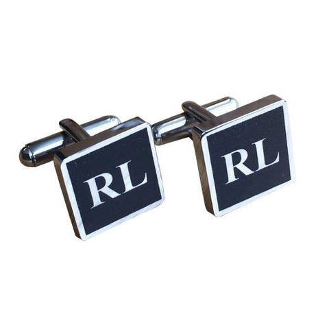Colour Engraved Square Silver Cufflinks