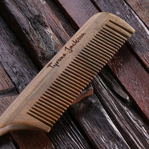 Personalised Natural Wood Rat Tail Hair Comb