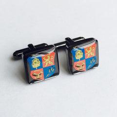 Personalised Colour Printed Crest Square Cufflinks