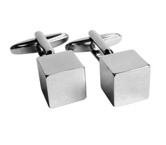 Cube Square Shiny Silver Cufflink