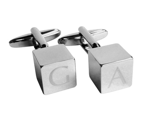 Personalised Engraved Cube Square Shiny Silver Cufflink