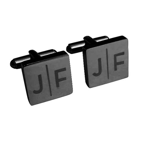 Personalised Engraved Split Letter Square Gunmetal Cufflinks