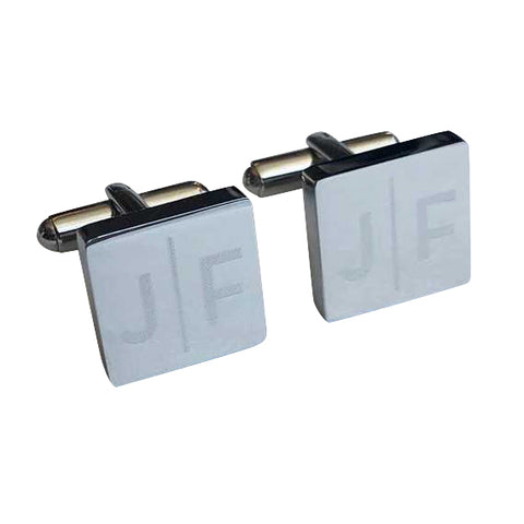 Personalised Engraved Split Letter Square Silver Cufflinks