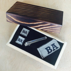 Personalised Printed Cut Out Silver Square Cufflinks, Tie Bar and Money Clip Gift Set with Black Box