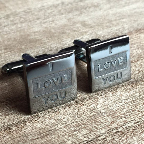 Deep Etched Engraved Square Gunmetal Cufflinks