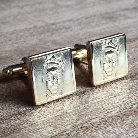 Deep Etched Engraved Square Gold Cufflinks