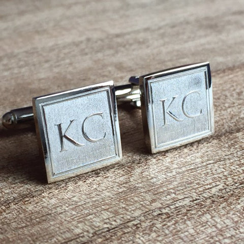 Deep Etched Engraved Square Silver Cufflinks