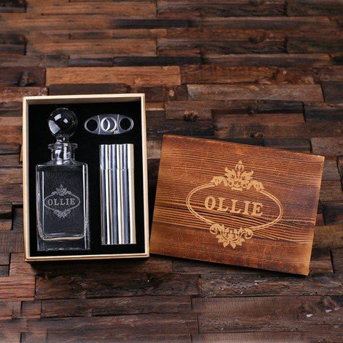 Personalised Gift Set with Global Lid Whiskey Decanter, Cigar Cutter and Cigar Holder Flask