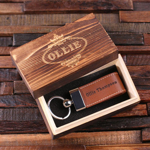 Personalised Leather Key Ring with Gift Box