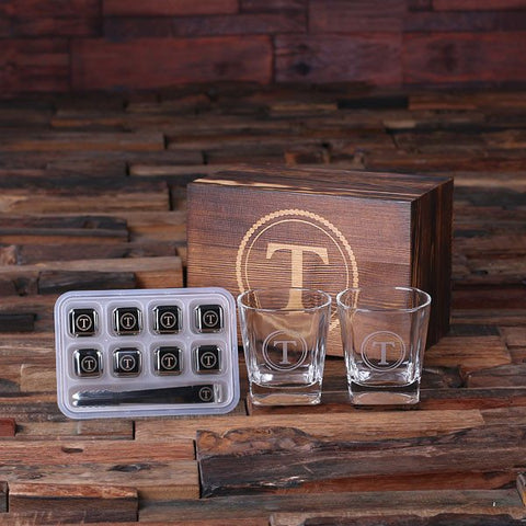 Personalised Whiskey Glasses and Ice Cubes Gift Set