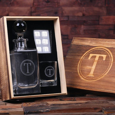 Personalised Whiskey Decanter, Glass and Ice Cubes Gift Set