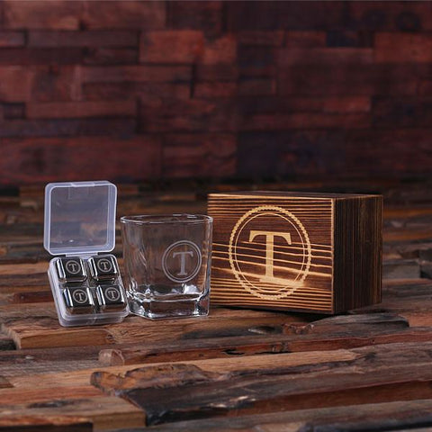 Personalised Whiskey Glass and Ice Cube Gift Set