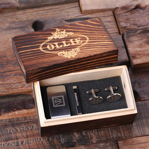 Personalised Gift Set with Oval Cufflinks, Money Clip and Tie Bar