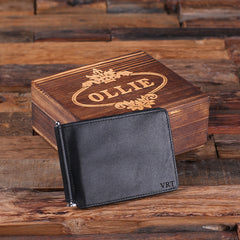 Personalised Monogrammed Leather Bi-Fold Wallet with Gift Box