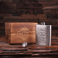 Personalised Stainless Steel Flask with Wood Gift Box - 530mL