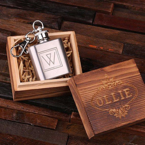 Personalised Stainless Steel Key Ring Flask with Wood Gift Box - 30mL