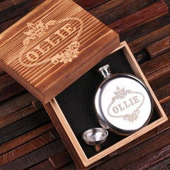 Personalised Stainless Steel Round Flask with Wood Gift Box - 150mL