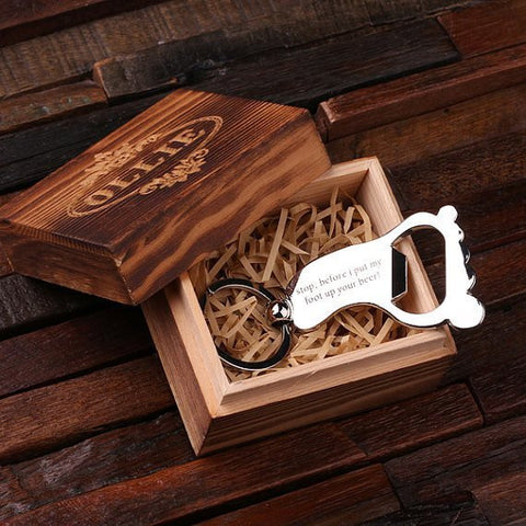 Personalised Stainless Steel Foot Key Ring Bottle Opener with Gift Box