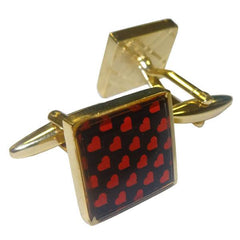 Gold Square Printed Contrast Hearts Cufflinks