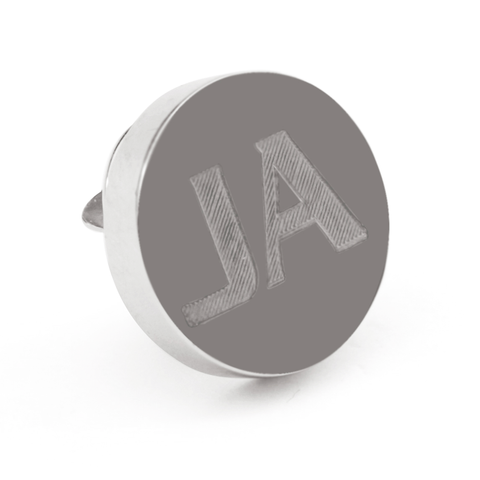 Personalised Engraved Round silver lapel Pins