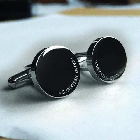 Personalised Engraved Full Name Round Gunmetal Cufflinks