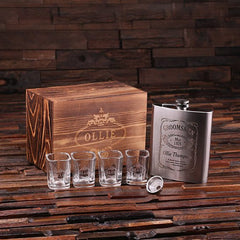 Personalised Gift Set with Whiskey Decanter, Shot Glasses and Flask