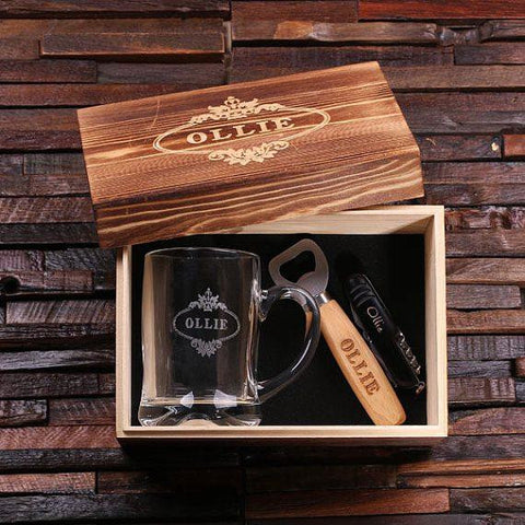 Personalised Gift Set with Beer Mug, Bottle Opener and Swiss Army Knife