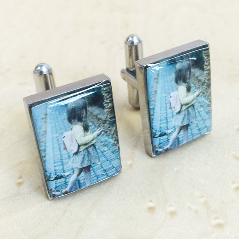 Personalised Colour Printed Image Rectangle Cufflinks