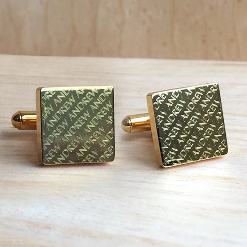 Engraved Diagonal Striped Gold Cuffs