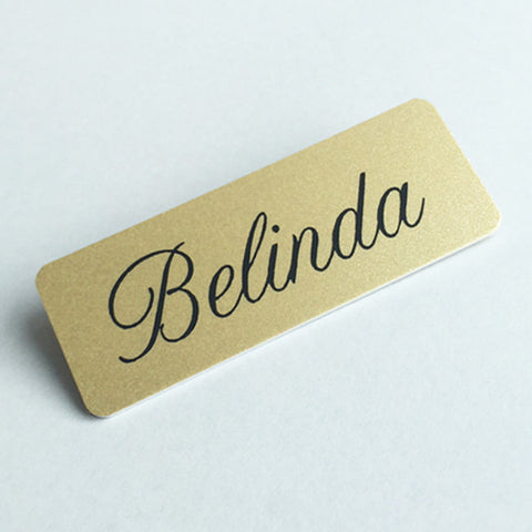 Personalised Printed Gold Name Badges