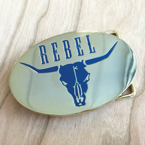 Colour Engraved Oval Belt Buckle - Gold