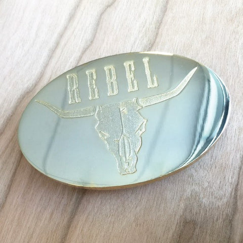 Deep Etched Oval Belt Buckle - Gold