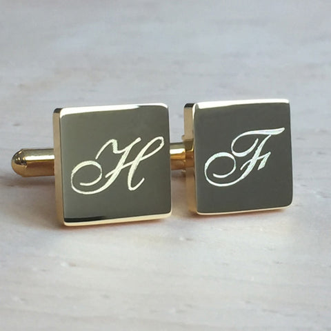 Personalised Engraved Letter Gold Square Cufflinks