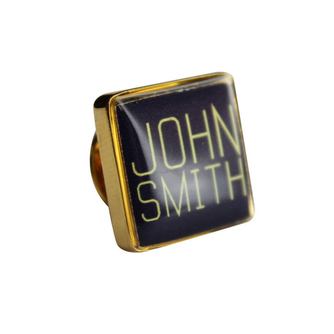 Personalised Printed Square Gold Lapel Pin