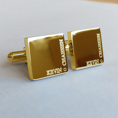 Personalised Engraved Full Name Square Gold Cufflinks