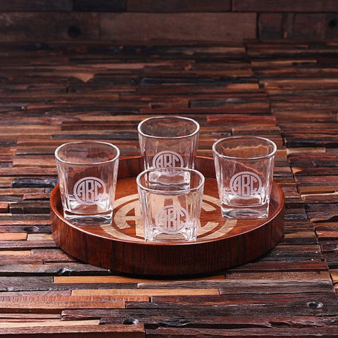 Personalised Bar Tray Set – Grand Tray Set with 4 Glasses