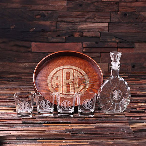 Personalised Grand Bar Tray Set with Decanter and 4 Whiskey Glasses
